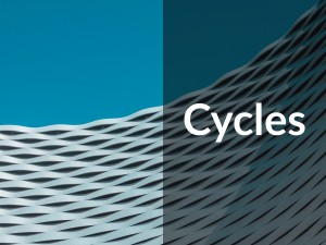 "Circular woven shaped building in Frankfurt Germany with blue skies. Caption says ""cycles."" Investing. By Maarten Deckers"