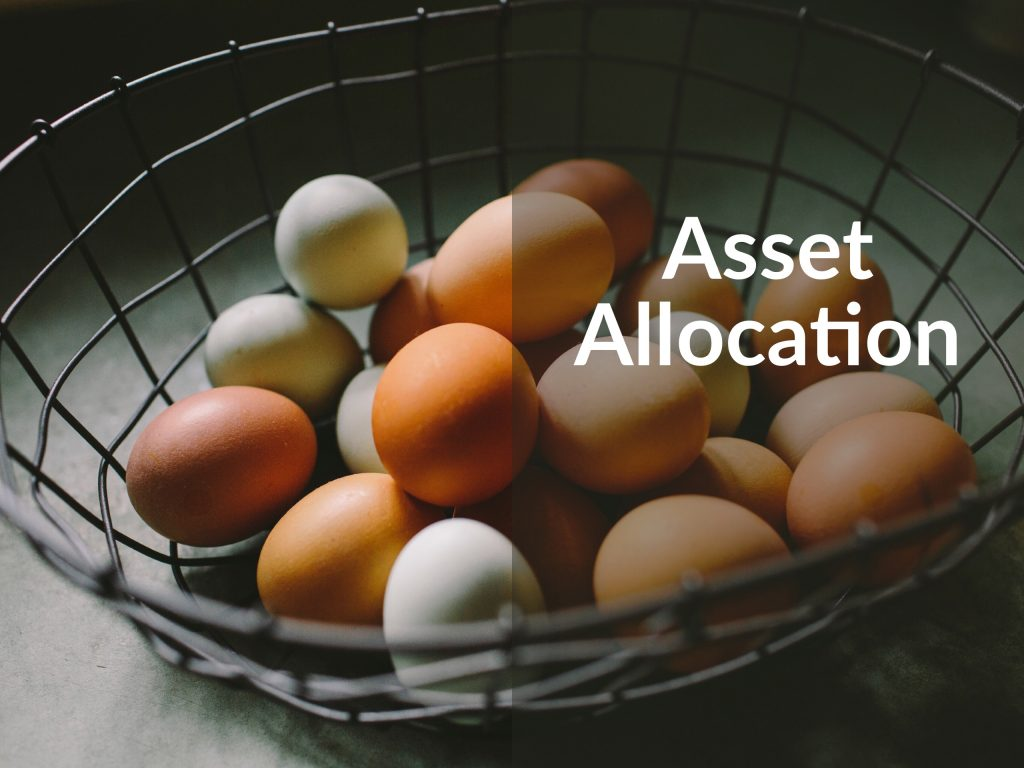 "A wire basket full of around 20 brown and tan eggs. Caption says ""Asset Allocation."" Money For the Rest of Us Podcast."