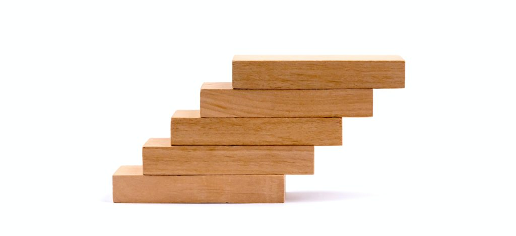 Wood block stacking as if step stair.