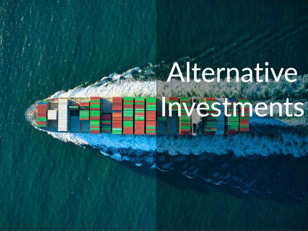 "Cargo ship sailing. Text says ""Alternative Investments"""