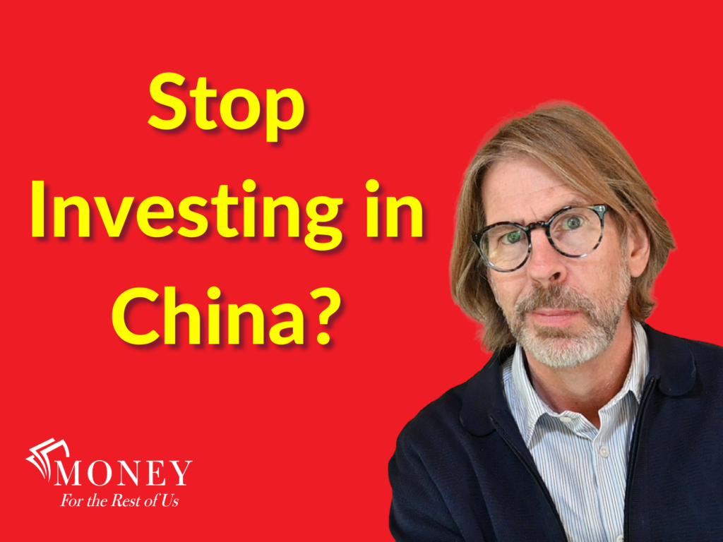 """David Stein on Red background with words """"Stop Investing in China?"""""""