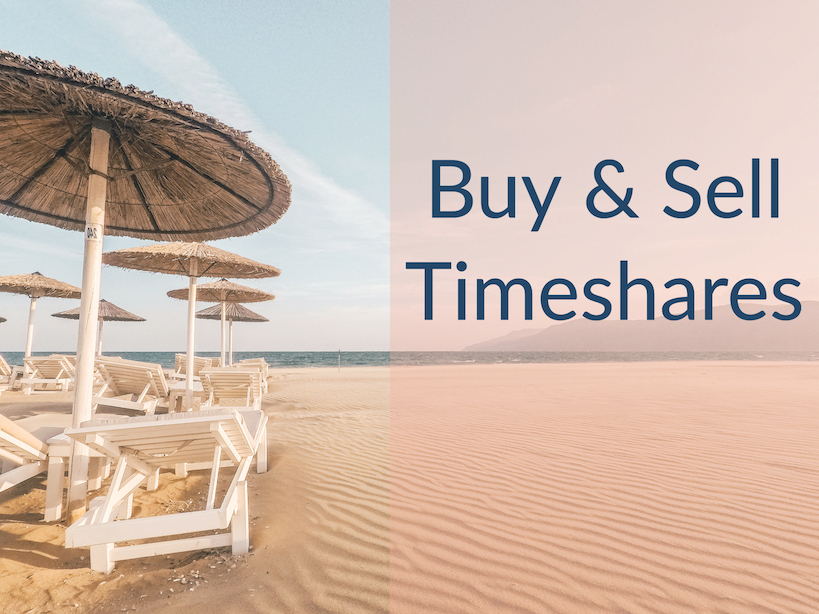 """Chairs and umbrellas on a beach with caption """"Buy & Sell Timeshares"""""""